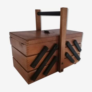 Travailleuse boite à couture bois vintage design scandinave