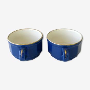 Duo tasses à déjeuner bistrot revol bleues liseret doré - france