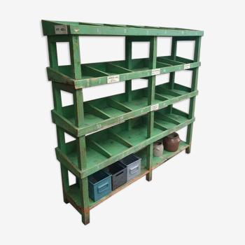 Étagère industrielle d'unité de livre armoire verte de chaussure