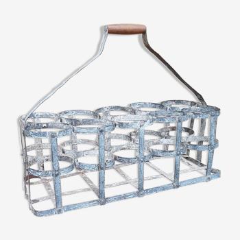 Large old zinc bottle basket