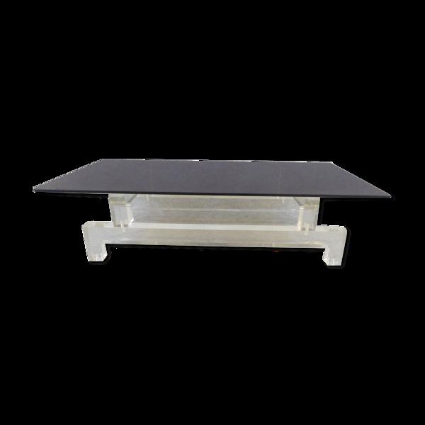 Table basse modulable en verre et piétement en plexiglass 1970