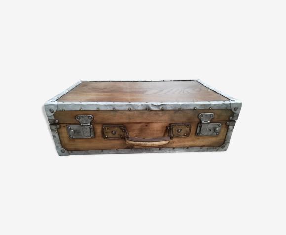 Valise ancienne en bois ciré