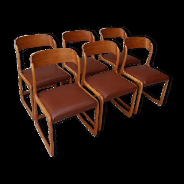 Série de 6 chaises traineau Baumann