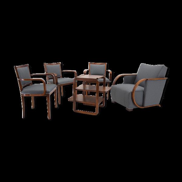 Ensemble de chaises et fauteuils Art Déco, par Tatra Pravenec, Tchécoslovaquie, années 1930