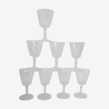 Set de 8 verre à pieds en verre ciselé 70's