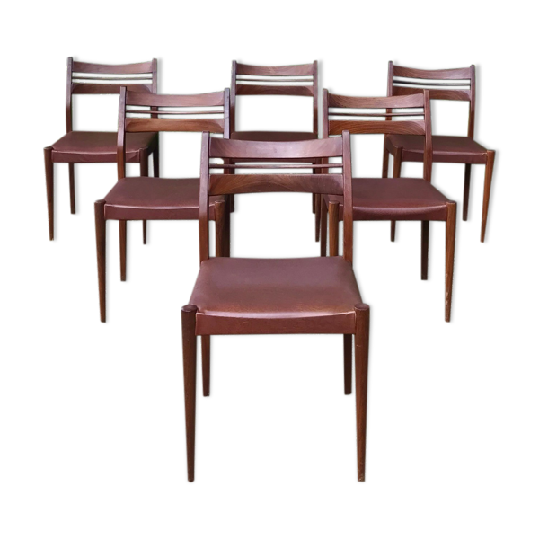 Série 6 chaises scandinave teck et skaï marron 1960