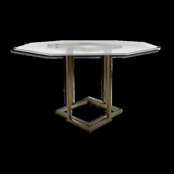 Selency Table octogonale en verre et laiton années 70