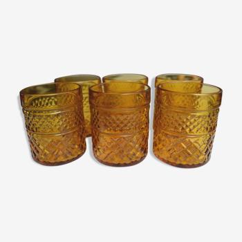 6 verres vintage ambrés à pastis