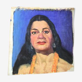 Huile sur toile portrait gitane début XXème