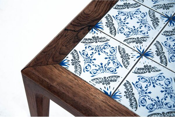Table basse avec carreaux de céramique, design danois, années 1960