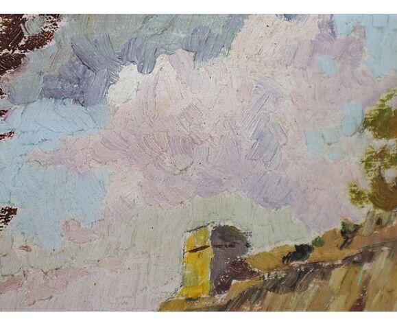 Peinture à l'huile antique Français