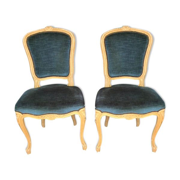 Lot de 2 chaises Louis XV en velours bleu
