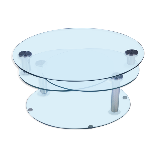 Selency Table basse trois plateaux pivotants en verre