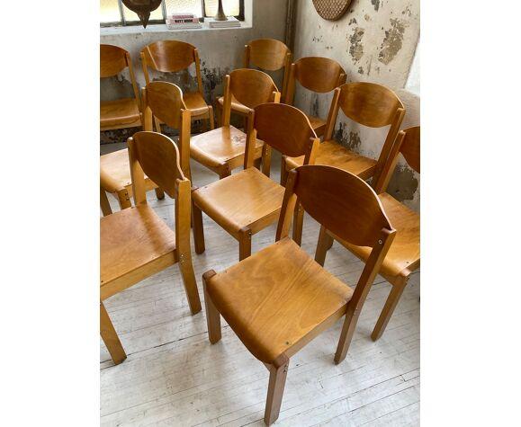 Set de 12 chaises hêtre années 80