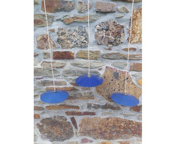 Lot of 3 industrial suspensions in blue enamelled sheet metal
