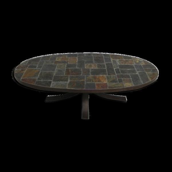Selency Table basse vintage avec plateau en ardoise