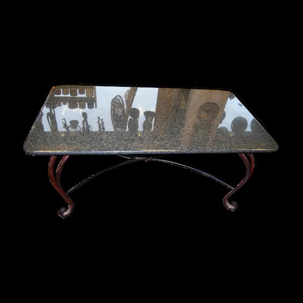 Table en fer forgé et plateau marbre granit