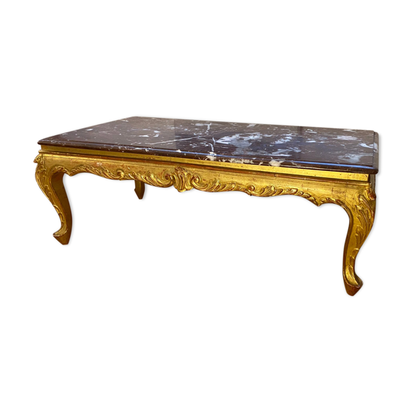 Selency Table basse en bois dorée