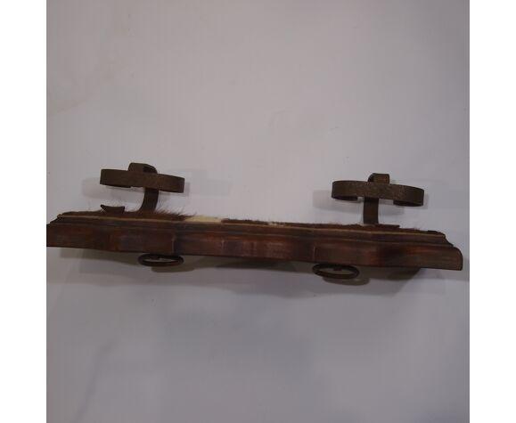 Porte manteau en bois et fer forgé vintage