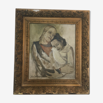 Tableau expresionnisme huile sur toile bohémienne circa 1939