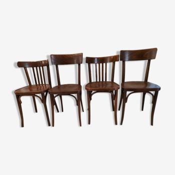 Suite de 4 chaises de bistrot Baumann et Thonet vintage 1960
