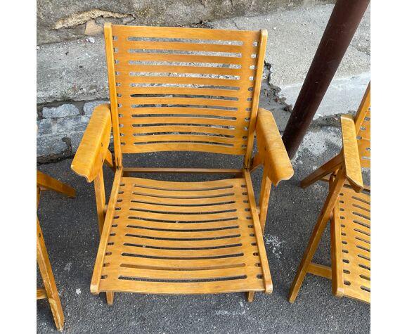 Set of 4 folding chairs by Niko Kralj