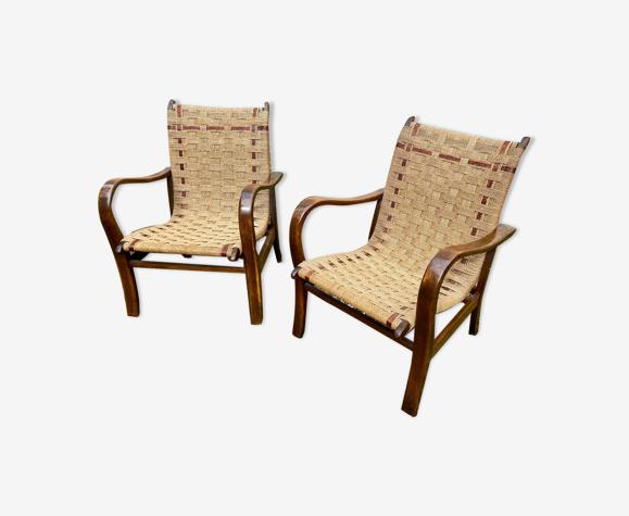 Paire de fauteuils corde Erich Dieckmann
