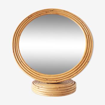 Miroir sur pied en bambou rotin vintage 35x37cm