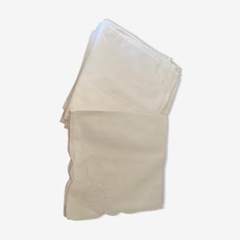 Lot de 6 serviettes en coton brodés