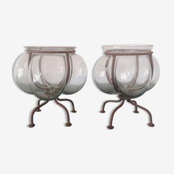 Vases photophores ''vénitiens'' Verre soufflé encagé fer forgé - Années 1940
