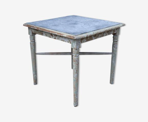 Table basse bois et zinc orangerie