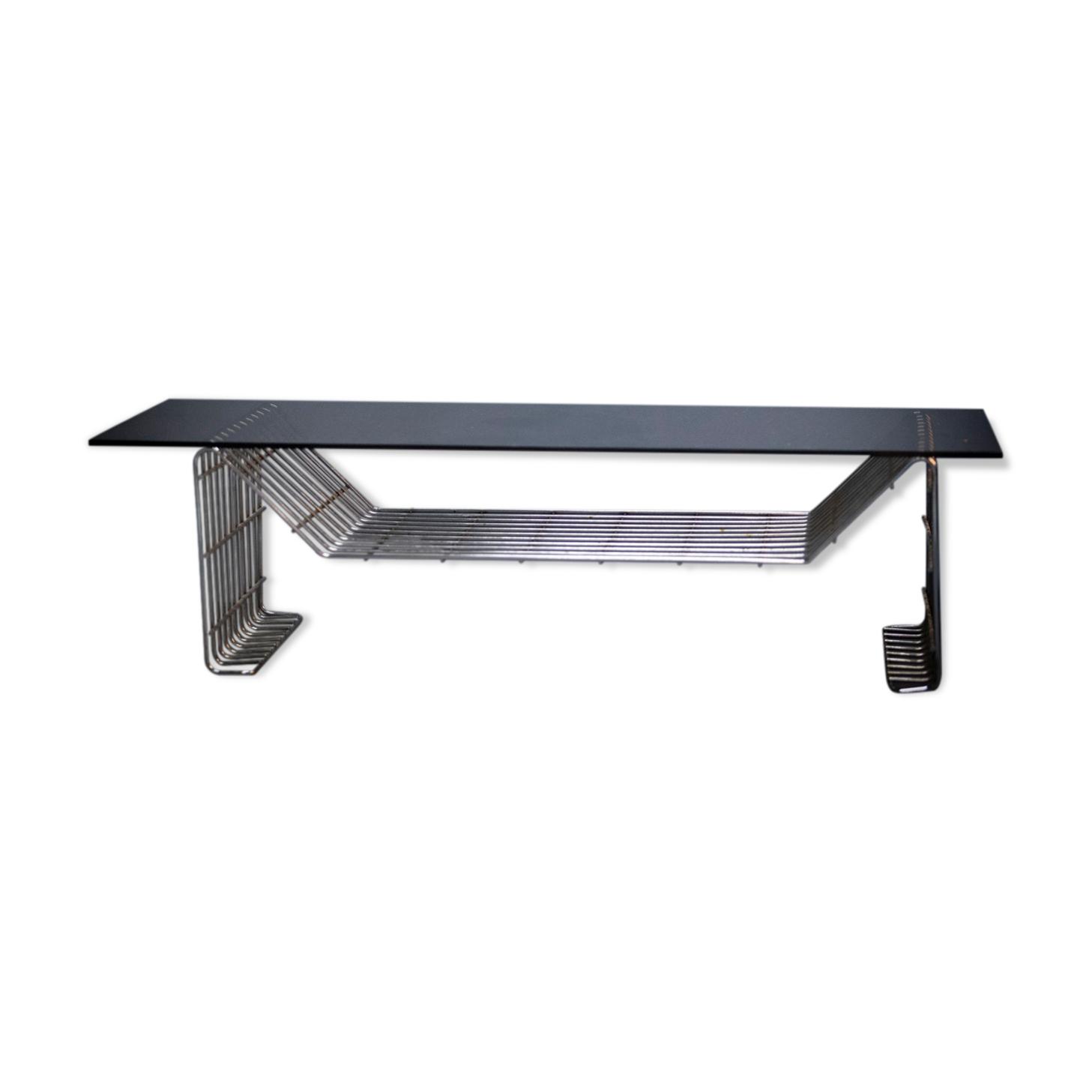 Table basse métal et verre