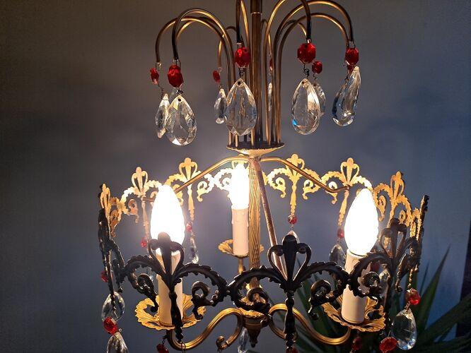 Lustre italien antique de laiton et de verre