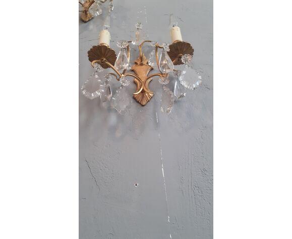 Paire d' appliques des années 50 en bronze doré et cristal de Bohême