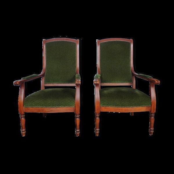 Paire de fauteuils Louis XVI capitonné