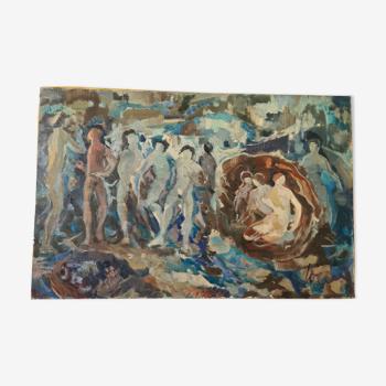 Géode - huile sur toile par Gérard Locardi