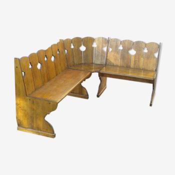 Banc d'angle de table à manger en bois massif