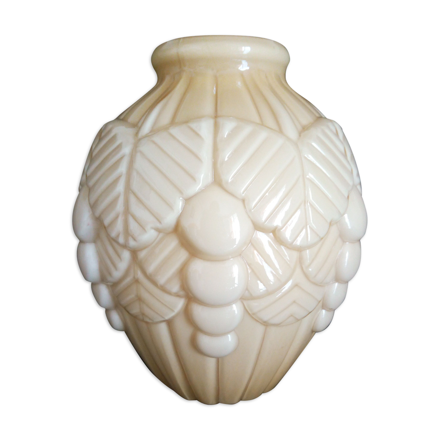 Vase art déco en verre moulé et pressé années 1950