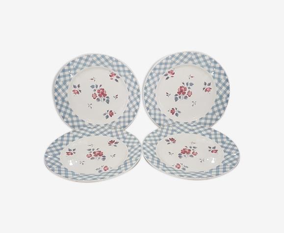 Lot de 4 assiettes plates en faïence de Digoin et Sarreguemines modèle Bastia.