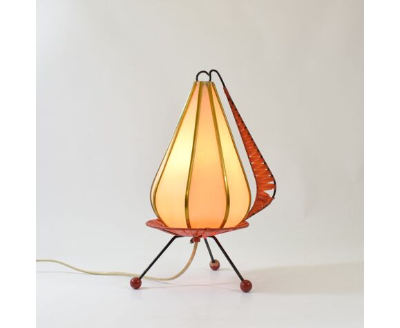 Lampe cocoon tripode 1950 vintage