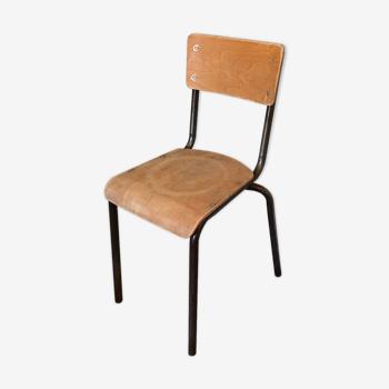 Chaise vintage poncée bois et métal marron