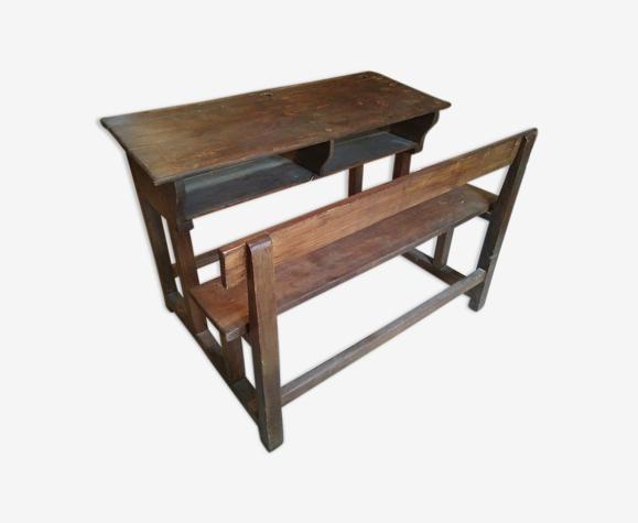 Bureau pupitre d'écolier double en bois massif années 30-40