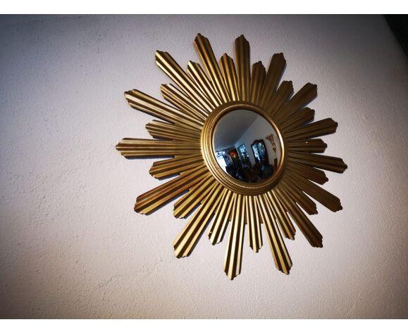 Miroir soleil sorcière doré 90cm