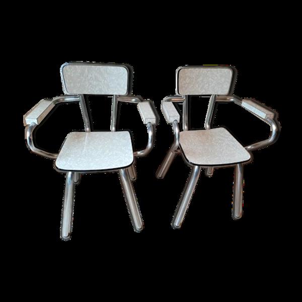 Set de 2 chaises en formica avec accoudoir
