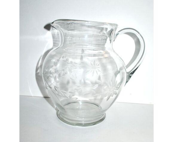 Pichet en verre gravé vintage citronnade