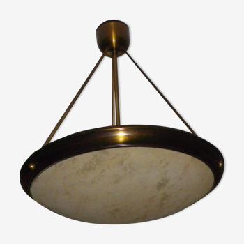 Suspension en verre granité métal doré tiges laiton années 70