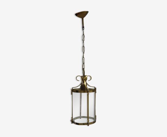 Lanterne en laiton et verre ciselé