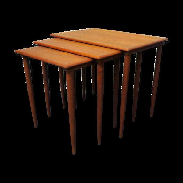 Ensemble de 3 tables danoises de nidification en teck, années 1960