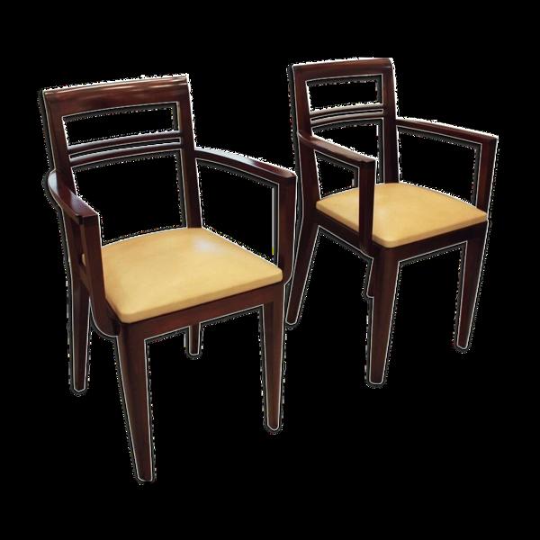 Paire de fauteuils bridge 1930 assise en cuir beige