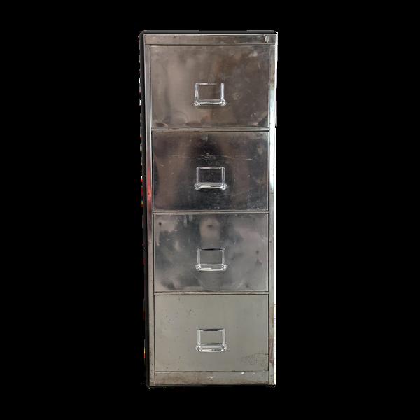 Classeur vintage à 4 tiroirs en acier poli
